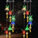 Hummingbird Courtyard LED Hanging Light Plastic Modern Solar Wind Chime Light in Green, 1 Pc
