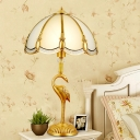 Single Table Lamp Classic Peacock Feather Beveled Glass Nightstand Light in Brass for Living Room