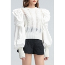 Fancy Shirt Solid Color Ripped Knit Patched Puff Sleeve Crew Neck Fit Shirt Top for Girls