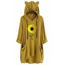 New Trendy Half Sleeve Flower Pattern Cat Ear Hooded Casual Loose Longline Hoodie