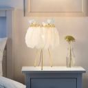 Gold Tripod Nightstand Lamp Postmodern 1-Head Metal Table Light with Feather Shade