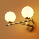 Postmodern Style Ball Shaped Wall Sconce Cream Glass Living Room Wall Light in Brass