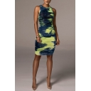 Cool Womens Dress Tie Dye Ruched Side Round Neck Sleeveless Slim Knee-Length Bodycon Dress