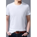 Basic Mens Tee Shirt Solid Color Thin Slim Fit Short Sleeve Crew Neck Tee Top