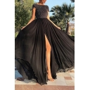 Amazing Dress Short Sleeve Boat Neck Sequined Patched High Slit Maxi Pleated Swing Dress in Black