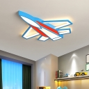 Jet Plane LED Flush Mount Ceiling Fixture Kids Metal Red and Blue Flushmount Lighting