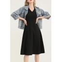 Trendy Womens Dress Sleeveless V-neck Mid A-line Tank Dress in Black
