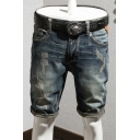 Guys Vintage Washed Blue Destroyed Ripped Patchwork Rolled Cuff Classic Fit Denim Shorts