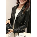 Cool Womens Jacket Long Sleeve Notched Collar Zip Up Slim Fit Leather Jacket in Black