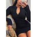 Popular Womens Dress Ribbed Solid Color Glove Sleeve Deep V-neck Short Tight Dress