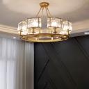 Gold Circular Chandelier Light Fixture Postmodern Crystal Block Suspension Lamp for Dining Room