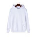 Mens Trendy Hoodie Solid Color Long Sleeve Pouch Pocket Relaxed Fit Hoodie