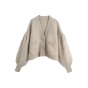 Trendy Ladies Cardigan Plain Blouson Sleeve Button Up Knit Loose Cardigan in Khaki