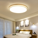 White Round Hollowed-out Ceiling Light Modern Acrylic Led Flush Mount with Wood Canopy