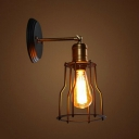 Warehouse Cage Shade Wall Lamp Fixture 1-Light Metallic Wall Sconce with Pivot Joint in Black