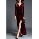 Womens Elegant Dress Velvet Solid Color Long Sleeve Surplice Neck High Slit Ruched Maxi Fishnet Dress