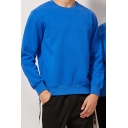 Trendy Sweatshirt Solid Color Cotton Ribbed Hem Thick Pullover Crew Neck Regular Fitted Long Sleeve Sweatshirt for Men