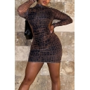 Fashionable Womens Dress Patterned Glove Sleeve Mock Neck Cut Out Short Tight Dress