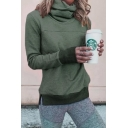 Womens Casual Plain Cowl Neck Long Sleeve Fitted Pullover Sweatshirt