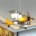Yellow Biplane Suspension Pendant Light Kids 7 Lights Ivory Glass Ceiling Chandelier