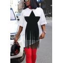 Elegant Women's T-Shirt Dress Star Print Tassel Design Round Neck Short Sleeve Mini T-Shirt Dress