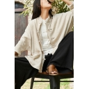 Retro Womens Shirt Linen and Cotton Long Sleeve Frog Button Relaxed Fit Solid Color Shirt Top