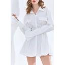 Fancy Womens Dress White Bell Long Sleeve Spread Collar Button Up Flap Pockets Mini Pleated A-line Shirt Dress