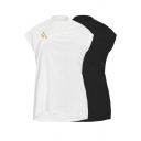 Basic Womens T Shirt Solid Color Short Sleeve Mock Neck Brooch Decoration Relaxed Fit Tee Top