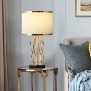 Round Fabric Nightstand Lamp Simplicity 1 Bulb Bedroom Table Lighting with Marble Base