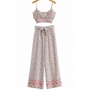 Pretty Womens Set Ditsy Floral Print Spaghetti Straps Fit Crop Cami & Pants Set in Beige