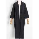 Fashion Womens Trench Coat Long Sleeve Open Front Longline Loose Fit Trench Coat in Black