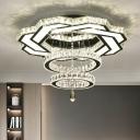 Ring Shaped Clear Crystal Ceiling Lamp Modern LED Semi Flush Mount Light Fixture