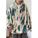 Trendy Mens Hoodie Printed Long Sleeve Pouch Pocket Relaxed Fitted Hoodie