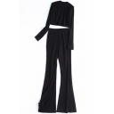 Unique Women's Co-ords Solid Color Mock Neck Long Sleeve Slim Fitted Sweater with High Rise Flared Pants Set