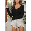 Stylish Women's T-Shirt Solid Color Button Front Round Neck Long Sleeve Regular Fitted Tee Top