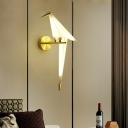 Origami Crane Wall Light Fixture Contemporary Plastic 1-Light Bedroom Wall Mounted Lamp in Gold