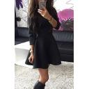 Women's Basic Simple Plain Round Neck Long Sleeve Mini A-Line Dress