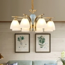 Satin Opal Glass Bell Pendant Light Fixture Vintage Living Room Ceiling Chandelier in Brass