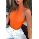 Edgy Girls Sleeveless Crew Neck Knit Fitted  High Cut Bodysuit for Nightclub