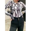 Womens Tee Shirt Stylish Tie Dye Skinny Fit Round Neck Long Sleeve Bottoming T-Shirt