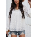 Basic Shirt Creative Chiffon Drop Shoulder Regular Fitted Long Sleeve V Neck Pullover Shirt