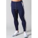 Retro Mens Pants Letter LYFT Pattern Side Stripe Patchwork Drawstring Waist Slim Fit 7/8 Length Tapered Jogger Pants
