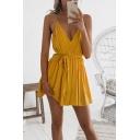 Sexy Women's Spaghetti Straps Sleeveless Plain Mini Cami Dress