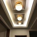 Small Corridor Ceiling Flush Light Metallic Single-Bulb Nordic Flush Mount Light in Gold