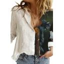 Fancy Girls Shirt 3D Cat Pattern Long Sleeve Spread Collar Button Up Loose Fit White Shirt