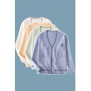 Trendy Women's Cardigan Contrast Stripe Ribbed Trim Front Pocket Button Fly Long Sleeve Regular Fitted Cardigan