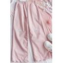 Elegant Women's Pants Cartoon Dog Embroidered Elastic Waist Scalloped Hem Ankle Length Pants