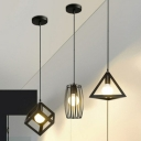 1 Bulb Geometrical Cage Style Drop Pendant Industrial Black Iron Suspension Light over Table