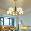 Drum Chandelier Light Fixture Simplicity Brass Fabric Suspension Lamp for Living Room