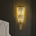 Conical K9 Crystal Wall Sconce Light Post-Modern 5 Bulbs Gold Flush Mount Wall Light for Bedroom